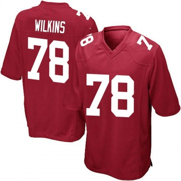Youth New York Giants Kevin Wilkins Red Game Alternate Jersey By Nike