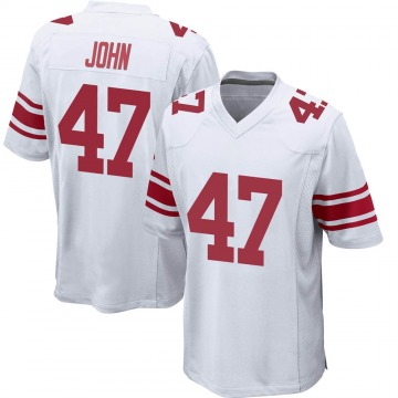 Youth New York Giants Rysen John White Game Jersey By Nike